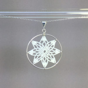 Tavita necklace, silver, white thread