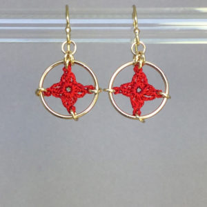 Spangles 1 earrings, gold, red