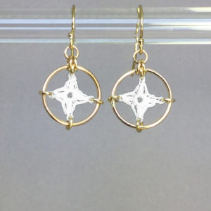 Spangles 1 earrings, gold, white
