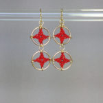 Spangles 2 earrings, gold, red