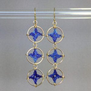 Spangles 3 earrings, gold, blue