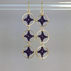 Spangles 3 earrings, gold, purple thread
