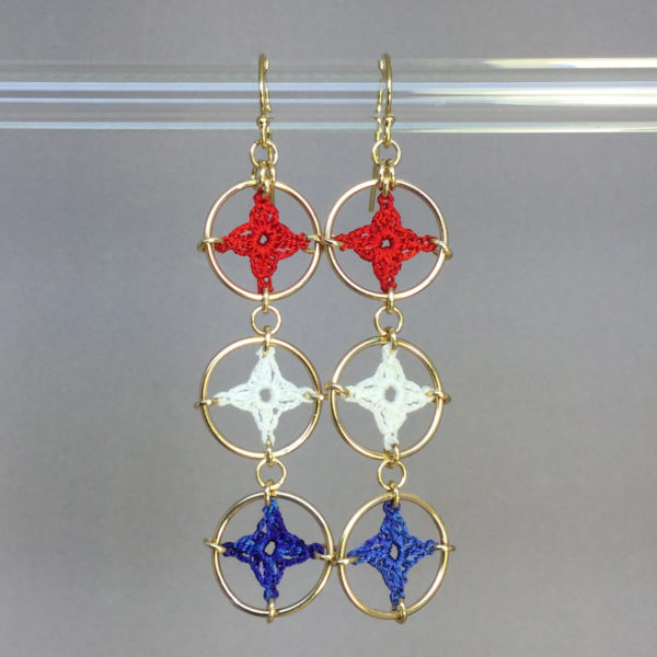 Spangles 3 earrings, gold, red white blue