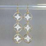 Spangles 3 earrings, gold, white