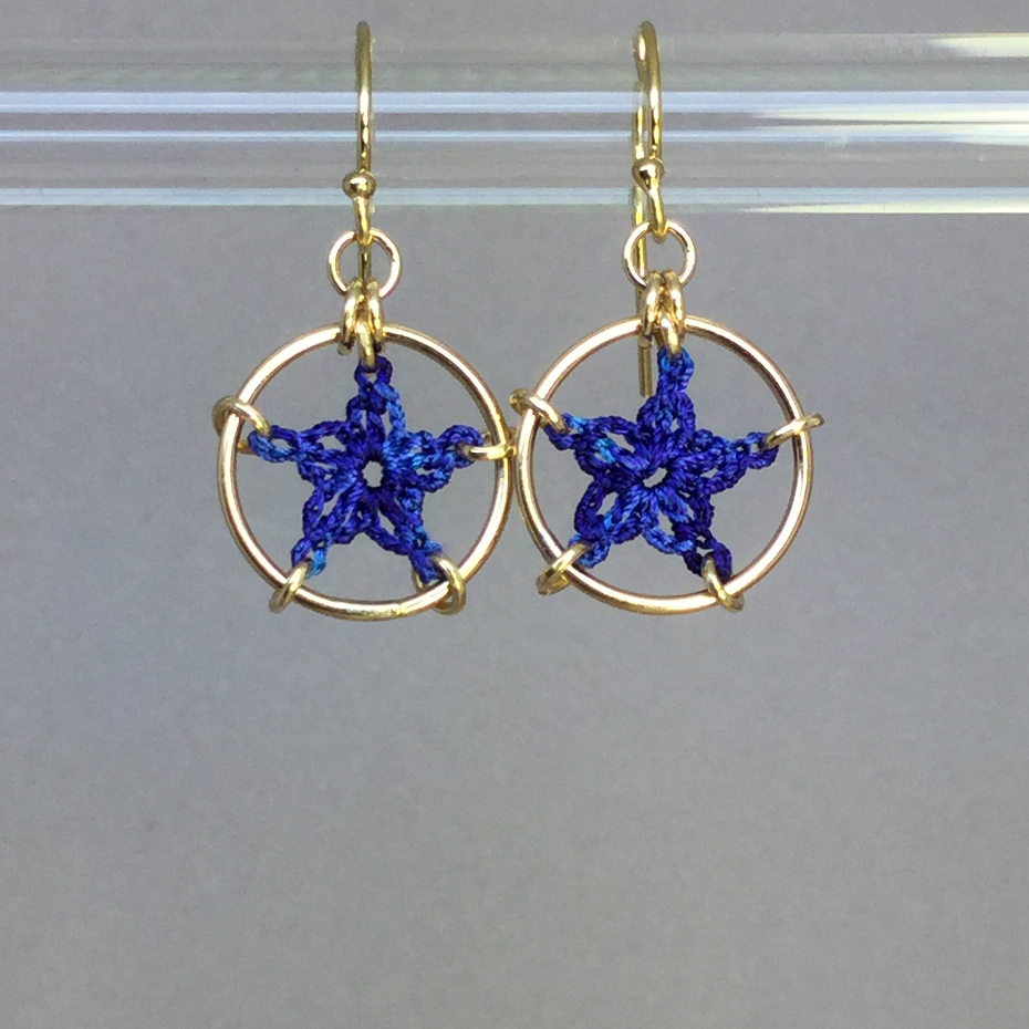 Stars earrings, gold, blue