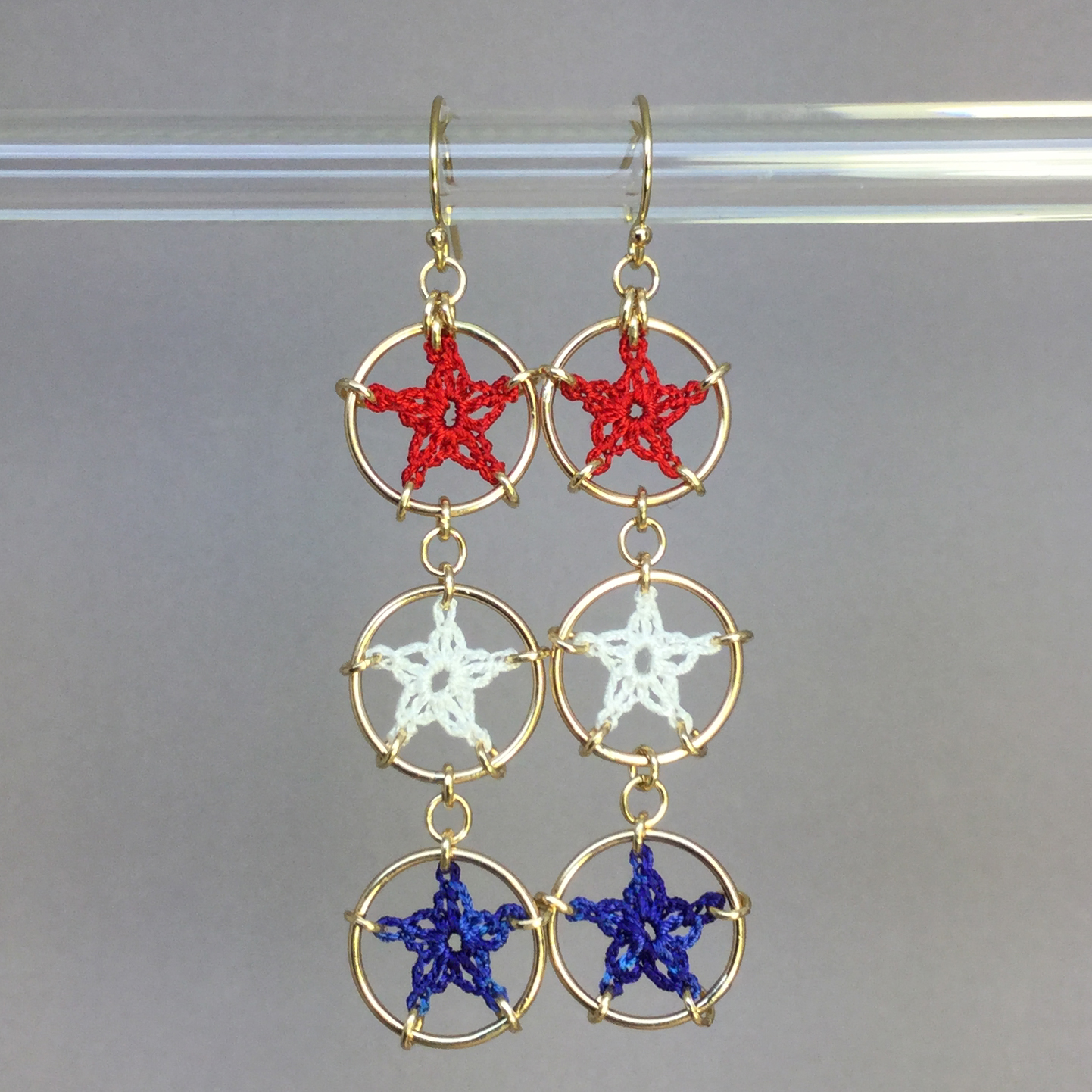 Stars earrings, gold, red white blue