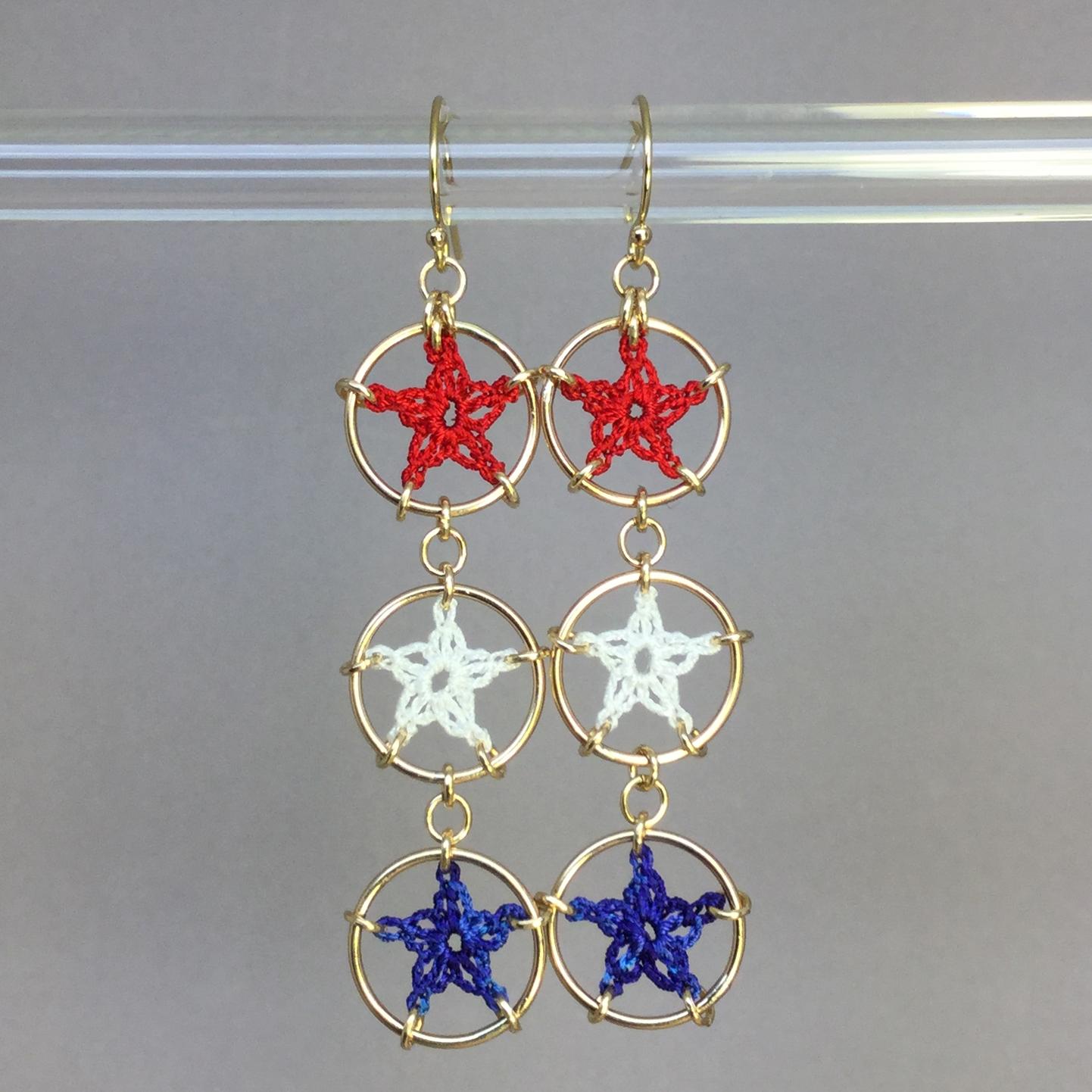 Stars earrings, gold, red white blue