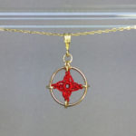 Spangles 1 necklace, gold, red
