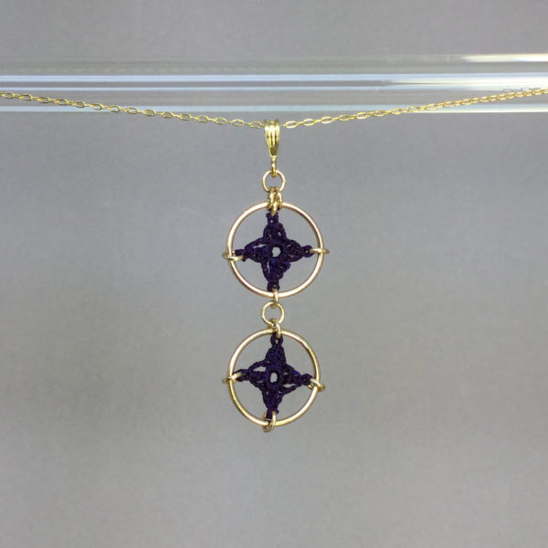 Spangles 2 necklace, gold, purple thread