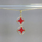 Spangles 2 necklace, gold, red