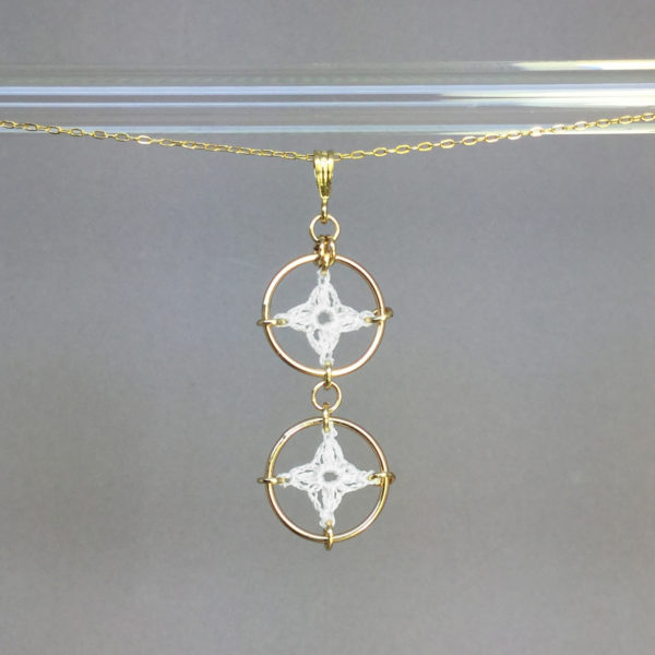 Spangles 2 necklace, gold, white