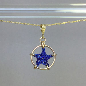 Star necklace, gold, blue