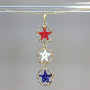 Stars necklace, gold, red white blue