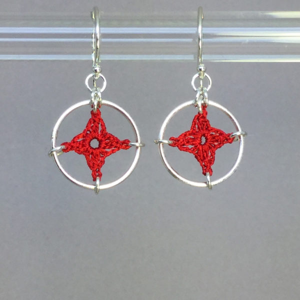 Spangles 1 earrings, silver, red