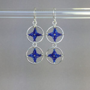 Spangles 2 earrings, silver, blue