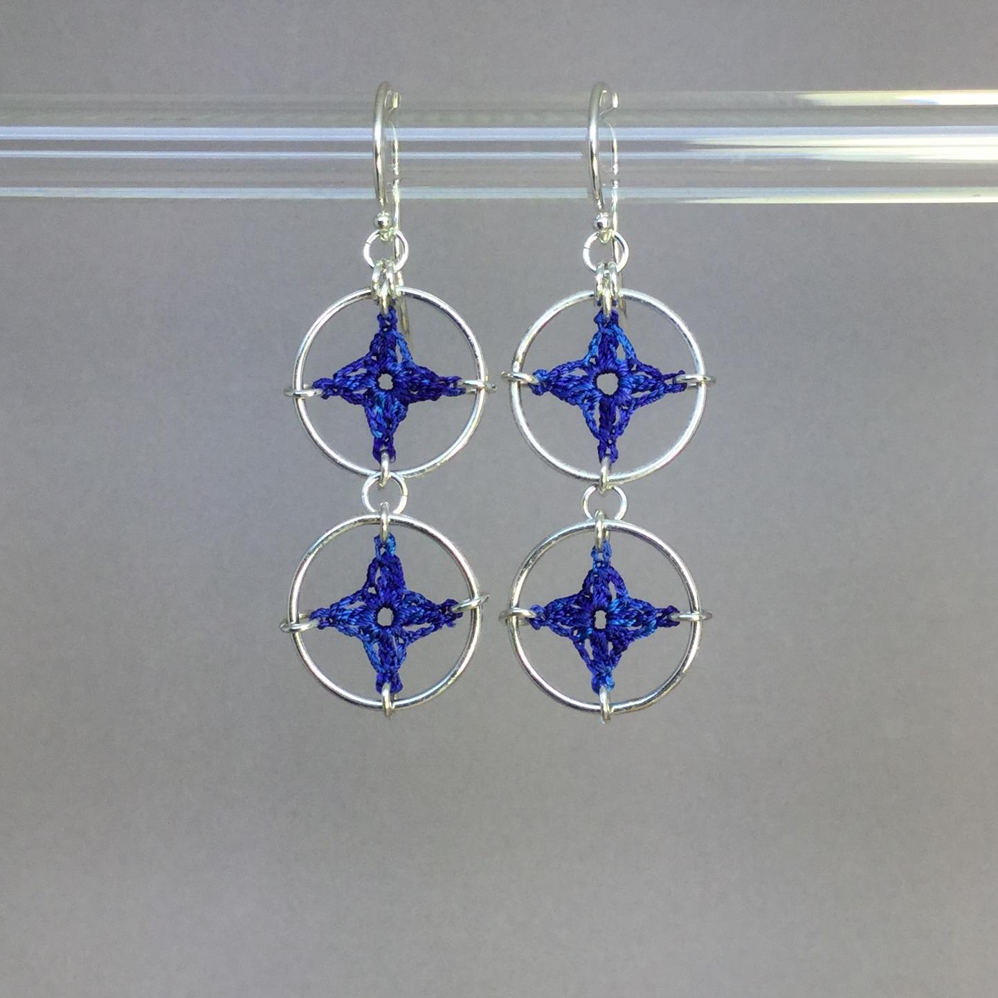 Spangles 2 earrings, silver, blue