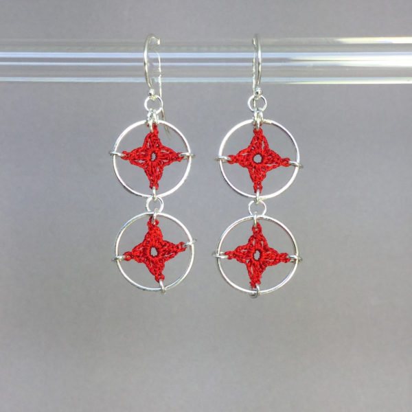 Spangles 2 earrings, silver, red