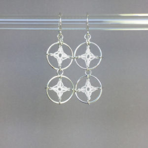 Spangles 2 earrings, silver, white