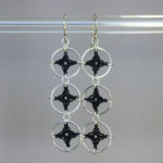 Spangles 3 earrings, silver, black