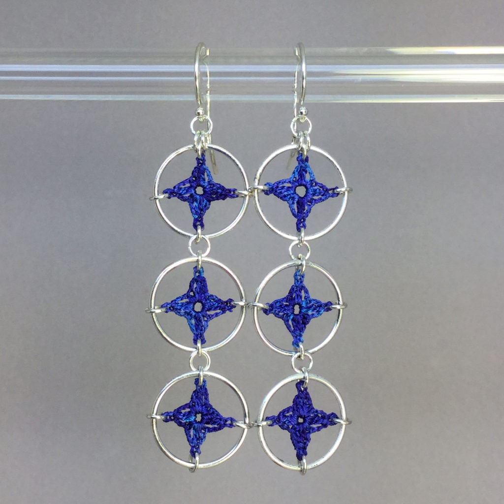 Spangles 3 earrings, silver, blue