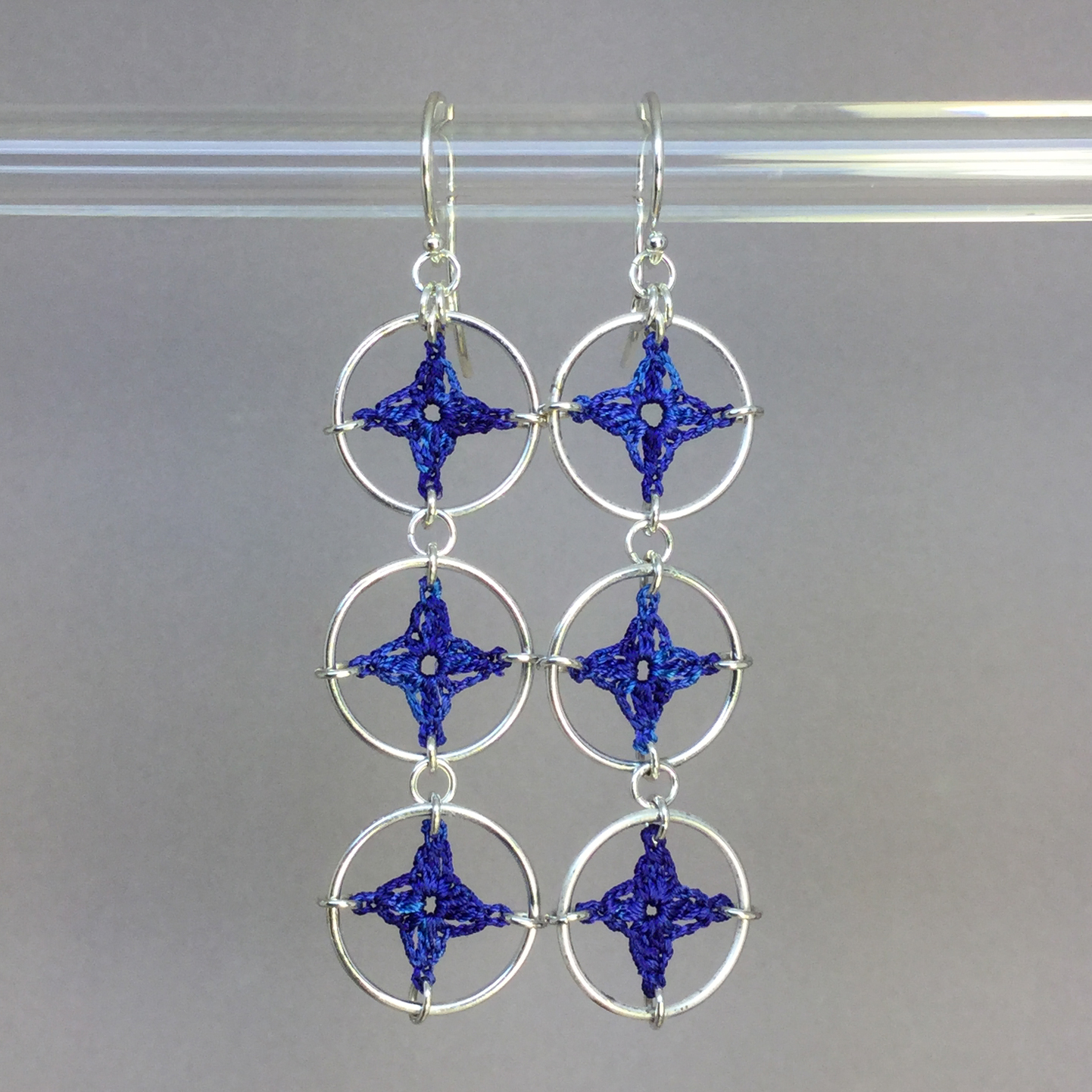 Spangles 3 earrings, silver, blue