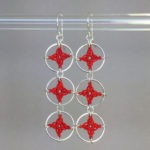 Spangles 3 earrings, silver, red