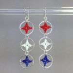 Spangles 3 earrings, silver, red white blue