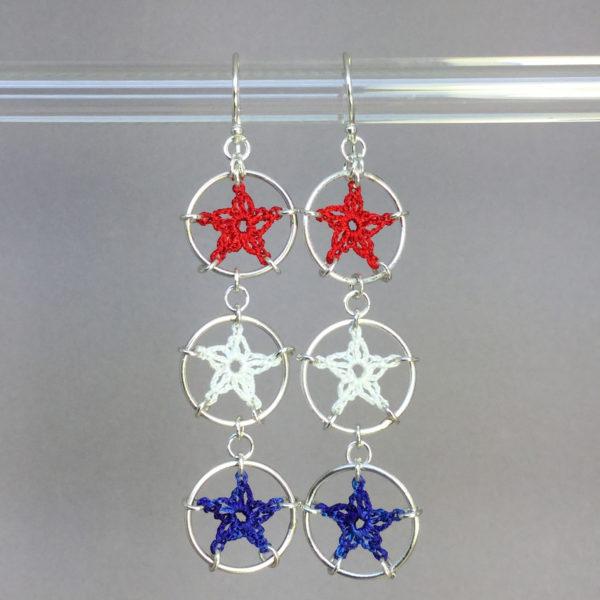 Stars earrings, silver, red white blue