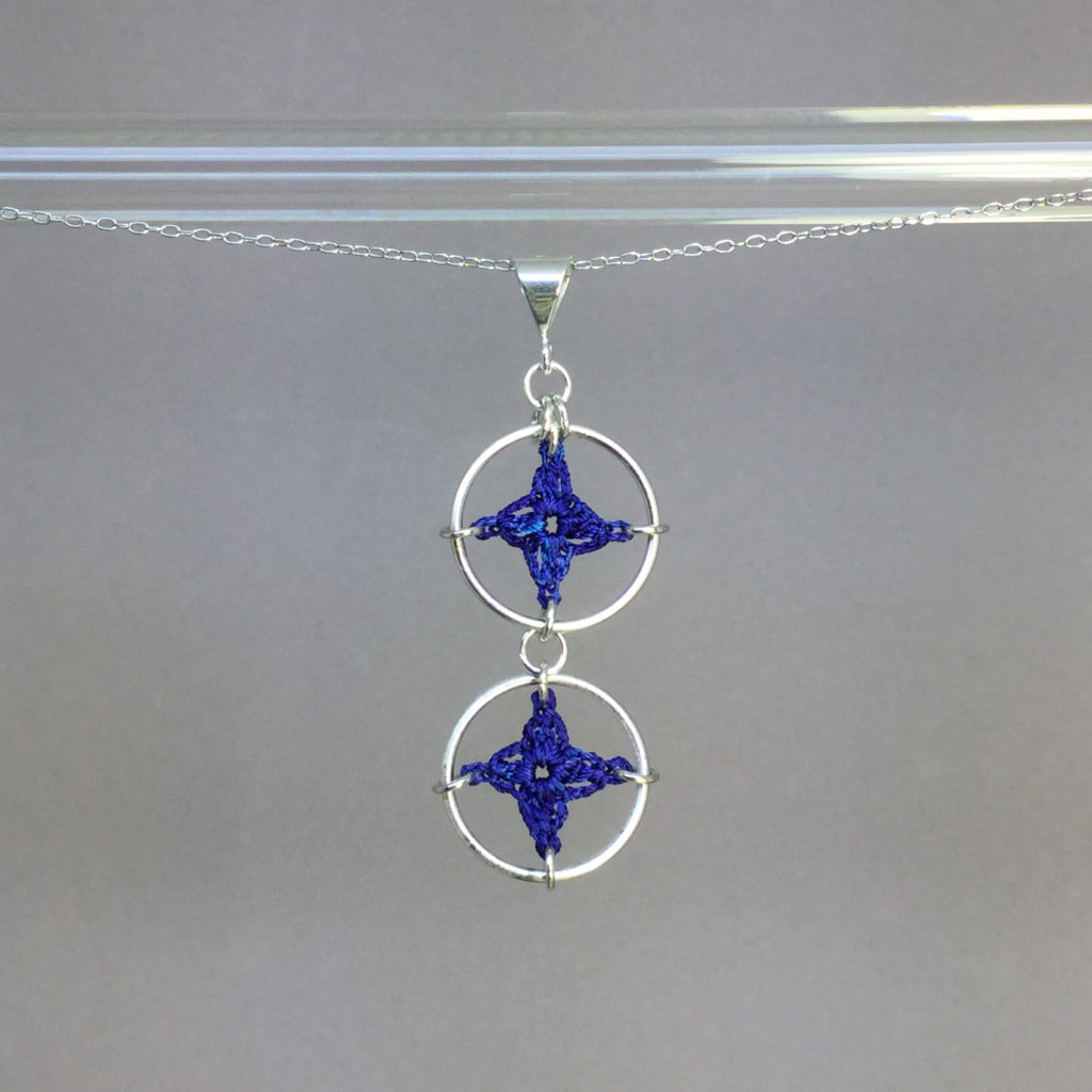 Spangles 2 necklace, silver, blue