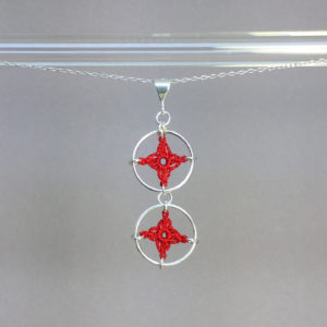 Spangles 2 necklace, silver, red