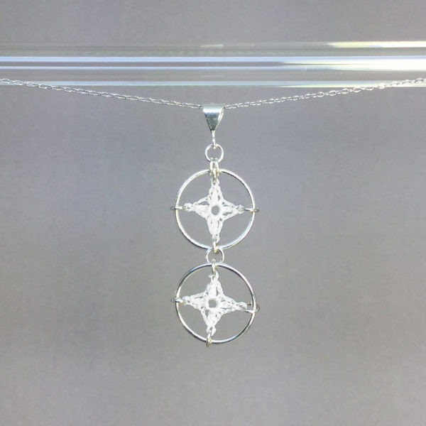 Spangles 2 necklace, silver, white