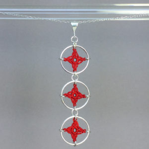 Spangles 3 necklace, silver, red