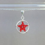 Star necklace, silver, red