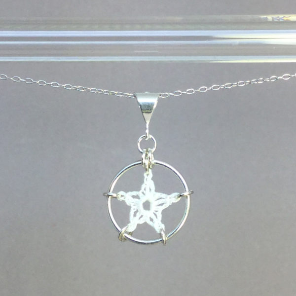 Stars necklace, silver, white