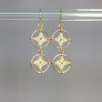Spangles 2 earrings, gold, french vanilla thread