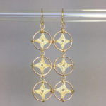 Spangles 3 earrings, gold, french vanilla thread