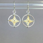 Spangles 1 earrings, silver, french vanilla thread