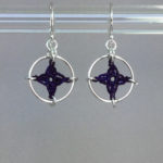 Spangles 1 earrings, silver, purple thread
