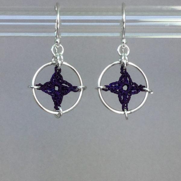 Spangles 1 earrings, silver, purple thread