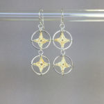 Spangles 2 earrings, silver, french vanilla thread