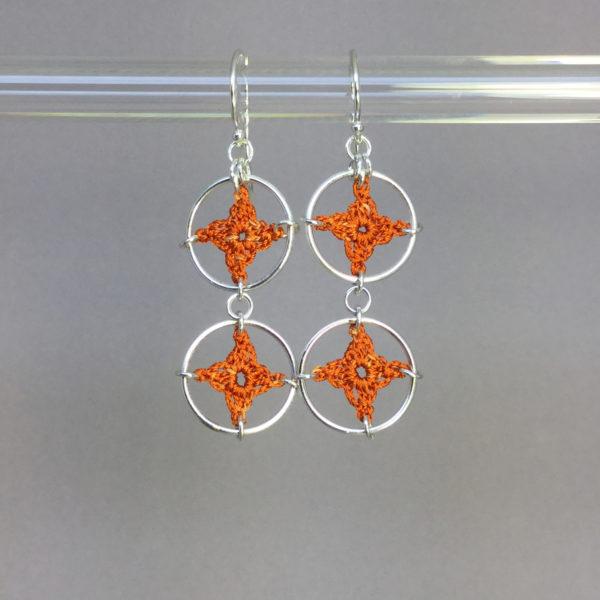 Spangles 2 earrings, silver, orange thread