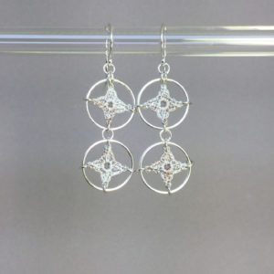Spangles 2 earrings, silver, pearly thread