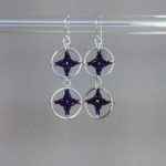 Spangles 2 earrings, silver, purple thread