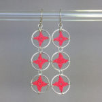 Spangles 3 earrings, silver, pink thread