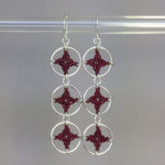 Spangles 3 earrings, silver, maroon thread