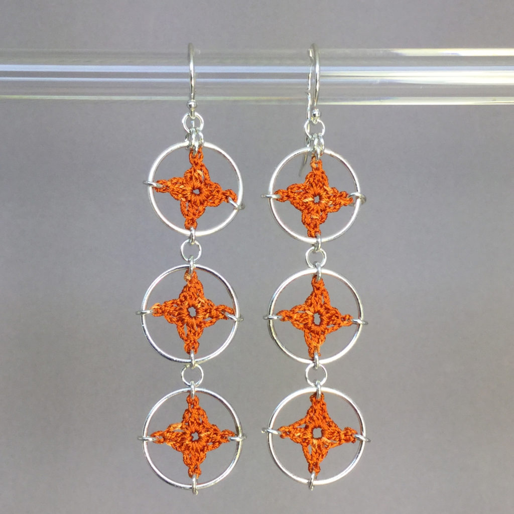 Spangles 3 earrings, silver, orange thread