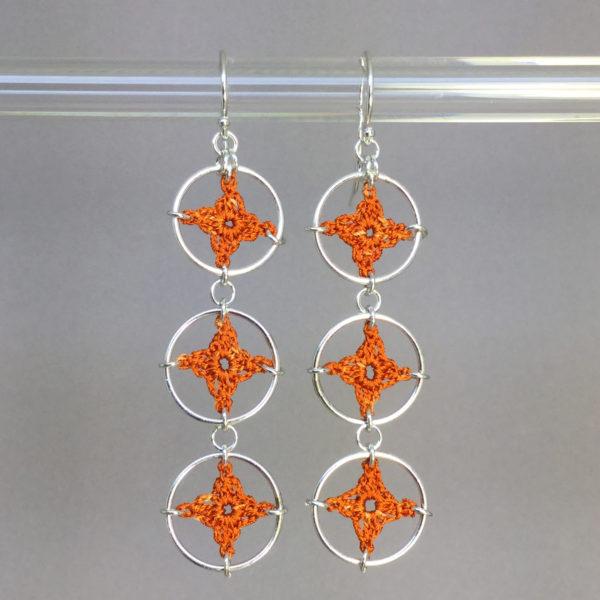 Spangles 3 earrings, silver, orange thread