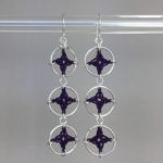 Spangles 3 earrings, silver, purple thread