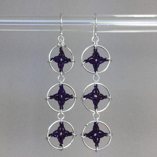 Spangles 3 earrings, silver, purple thread
