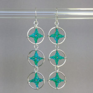 Spangles 3 earrings, silver, shamrock green thread